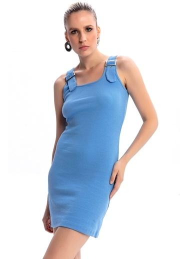 Emjey Kuşgözü Askılı Tokalı Elbise Mavi